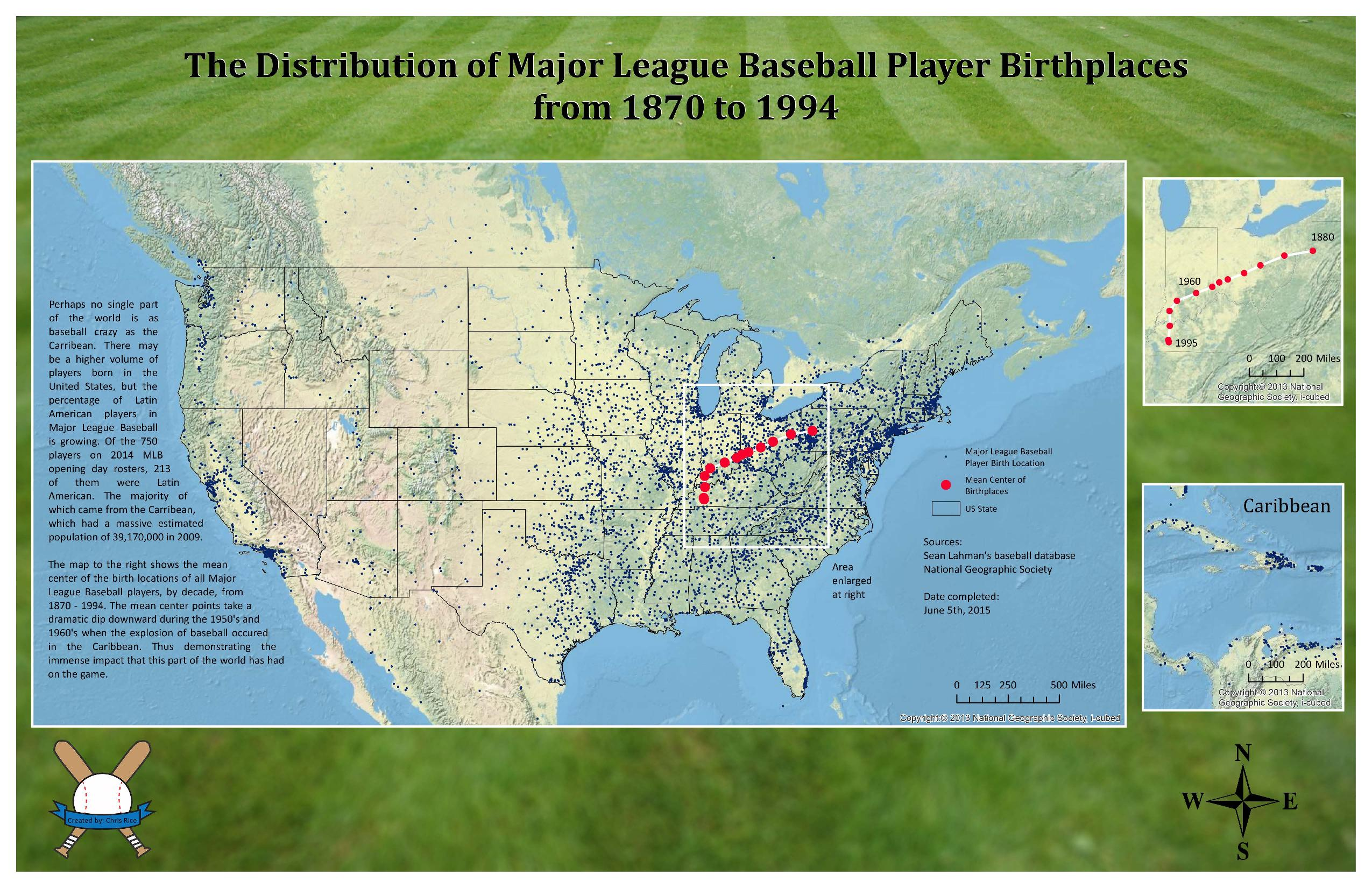 Map contest 2015 chris rice distribution of mlb player birthplaces gumiabroncs Gallery